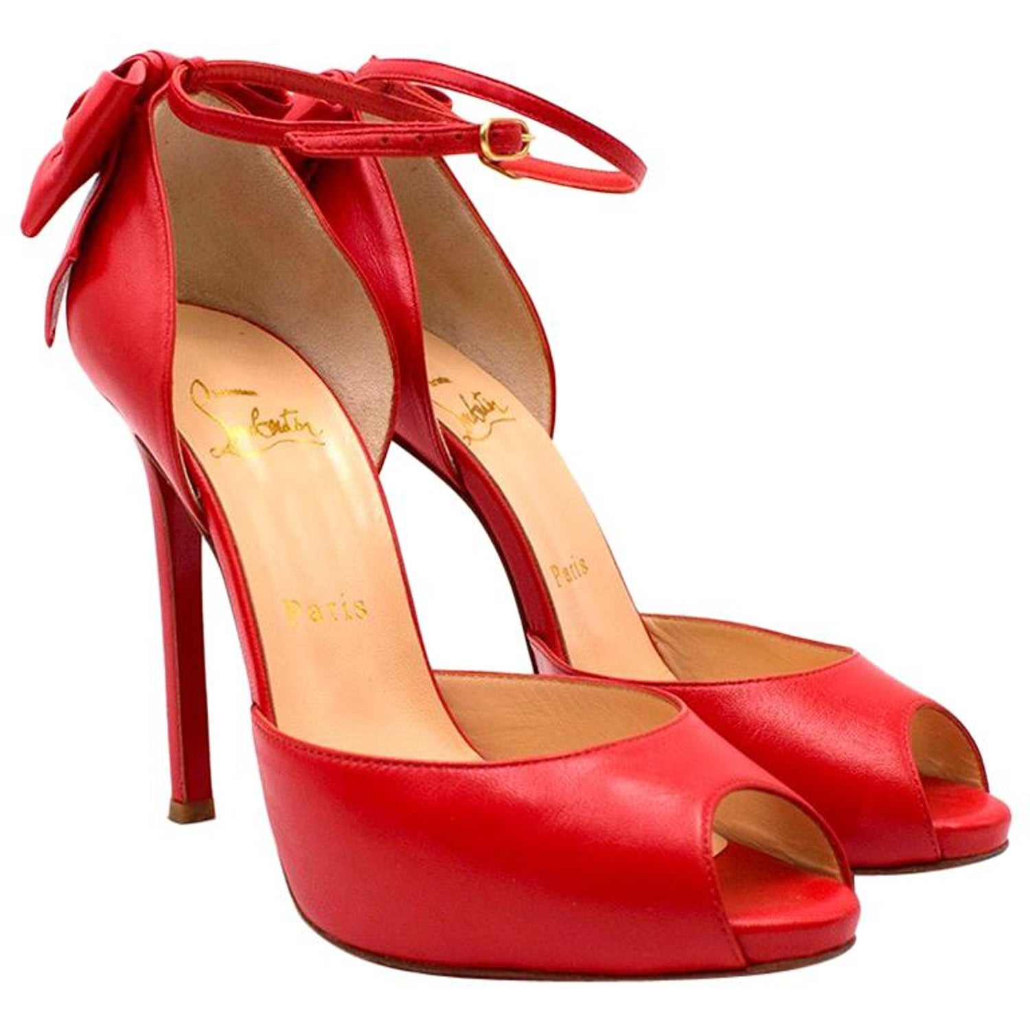 0f86d7250a3 Christian Louboutin Red Peep-toe Bow Embellished Sandals 37.5