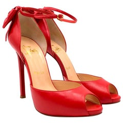 Christian Louboutin Red Peep-toe Bow Embellished Sandals 37.5