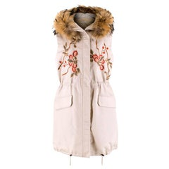 P.A.R.O.S.H. Floral Embroidered Gilet with Fur Trim US 6