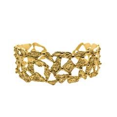 Giulia Barela 24 Karat  Gold Plated Bronze 'Pebbles' Bracelet Small