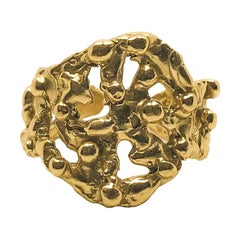 Giulia Barela 24 Karat Fine Gold Plated Bronze 'Segno Pebbles' Ring