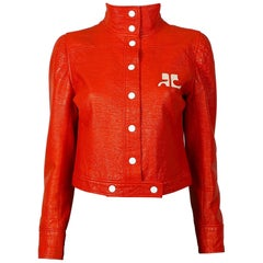 Andre Courreges Vintage Signature Logo Orange Vinyl Jacket