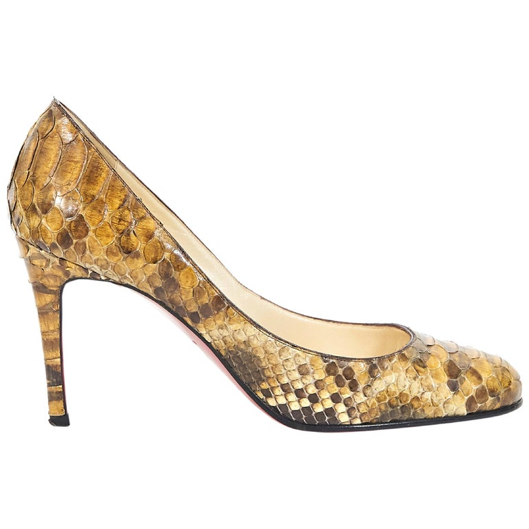 info for 65b3d a2374 Brown Christian Louboutin Snakeskin Pumps