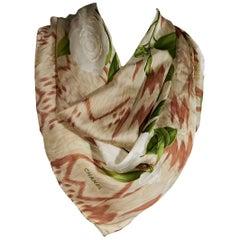 Multicolor Chanel Floral Silk Scarf