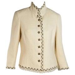 Cream Chanel Tweed Wool-Blend Jacket