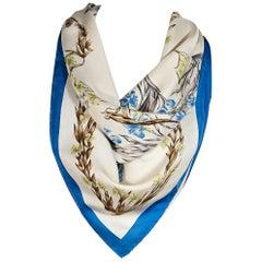 Cream & Blue Hermes Floral Silk Scarf
