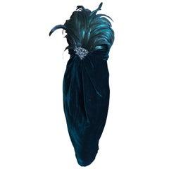 Bill Blass Fall 1986 Green Velvet Jeweled & Feathered Strapless Cocktail Dress