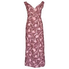 1960s Carven Haute Couture Pink Sequin Evening Dress