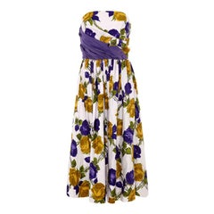 1950's Purple and Yellow Rose Print Strapless Cotton Dress