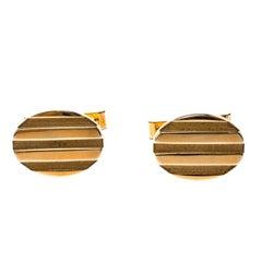 Tiffany & Co. Oval Stripe Textured 18k Yellow Gold Cufflinks