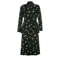 1940's Black and Floral Peplum Shirt Rayon Tea Dress