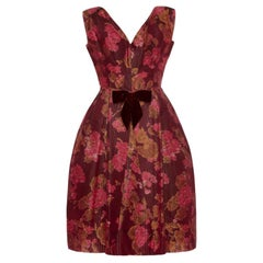 1960's Oscar de la Renta for Elizabeth Arden Silk Taffeta Floral Dress