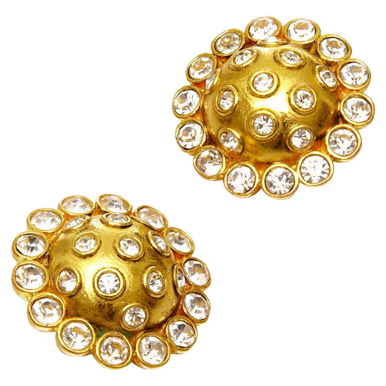 1980s Chanel Large Rhinestone Earrings For Sale