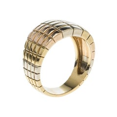 Van Cleef & Arpels Vintage Textured 18k Three Tone Gold Ring Size 54