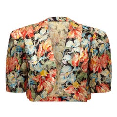 1930s Colourful Floral Lame Bolero Jacket