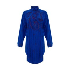 1980's Zandra Rhodes Oversized Blue Silk Print & Embellished Shirt