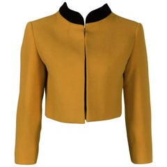 1960's Jacques Heim Haute Couture Cropped Yellow Wool Jacket