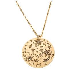 Chanel Comete Star Diamond 18k Yellow Gold Large Pendant Necklace