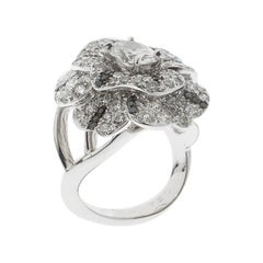 Chanel Pétales de Camélia 0.84ct Oval Solitaire Diamond Cocktail Ring Size 51