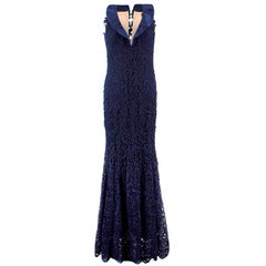 Bespoke Navy Lace & Silk Evening Gown US 6