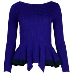 Sacai Luck Blue Cable Knit Peplum Sweater Sz 1/US Small