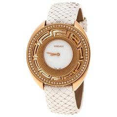 Versace White Mother of Pearl Gold Tone Diamond 67Q Women's Wristwatch 39 mm