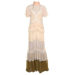 Chloe Beige and Lilac Tiered Silk Chiffon Lace Trim Ruffled Maxi Dress M