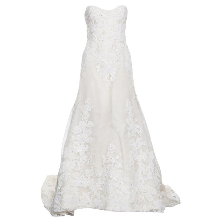 b39284b3f4 Vera Wang Luxe Cream Floral Lace Applique Embellished High Low Wedding Gown  M For Sale