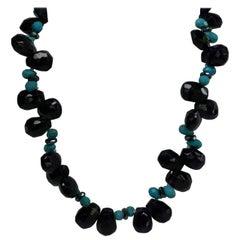 Amethyst Turquoise Hematite Vermeil 925 Silver Gemstome Necklace