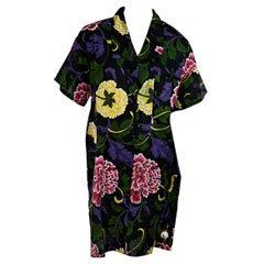 Multicolor Vintage Gianni Versace Mare Floral Shirtdress