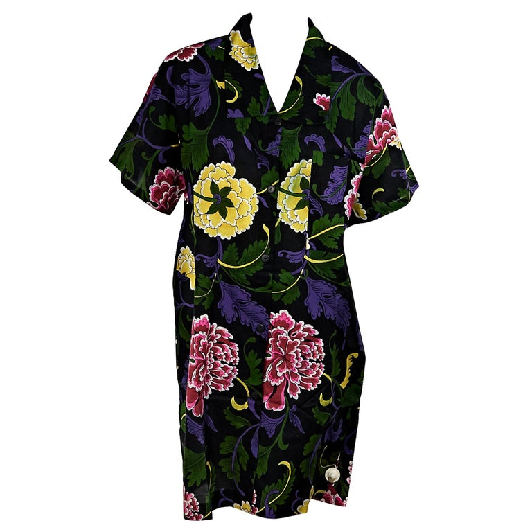 6fc555fa8c9 Multicolor Vintage Gianni Versace Mare Floral Shirtdress For Sale at ...