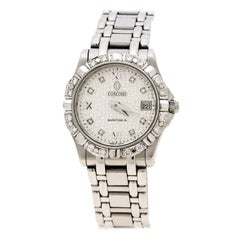 Concord Silver Stainless Steel Diamonds Saratoga Women's Wristwatch 24 mm