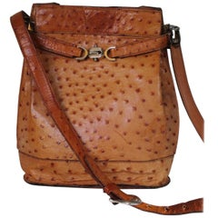 Vintage Leather Ostrich Cognac Shoulder Bag