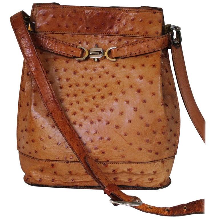 28d0310f3920 vintage Leather Ostrich cognac shoulder bag For Sale at 1stdibs