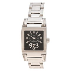 De Grisogono Black Dial Stainless Diamonds Tino Acier Women's Wristwatch 29 mm