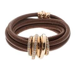 De Grisogono Allegra Diamond & 18k Rose Gold Brown Leather Wrap Bracelet