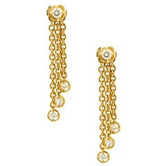 Van Cleef & Arpels Diamond & 18k Yellow Gold Long Tassel Earrings