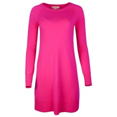Michael Kors Neon Pink Longsleeve Cashmere Sweater Dress Sz XS