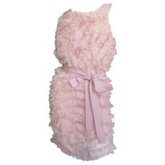 Chloe Pink Silk Ruffle Dress