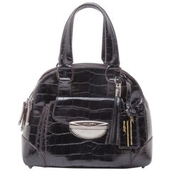 Lancel Black Leather Embossed Large Adjani Satchel