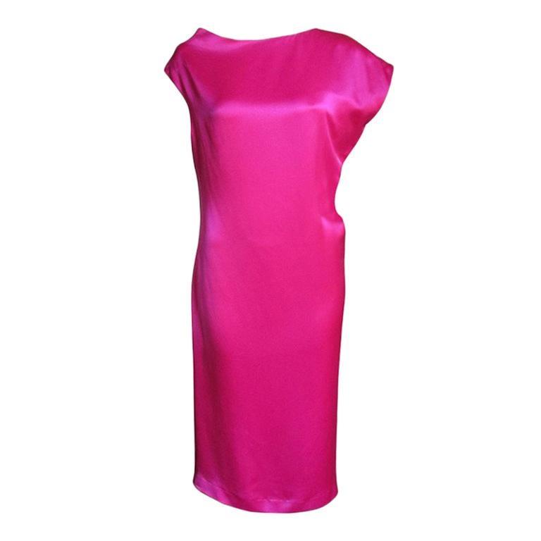 Alexander McQueen Asymmetric Neckline Silk Dress  For Sale