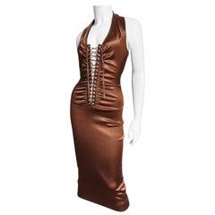 Dolce & Gabbana Bronze Laceup Plunge Halter Dress