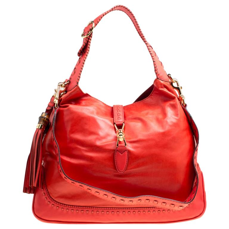 a854a013654 Gucci Coral Red Leather Large New Jackie Hobo For Sale at 1stdibs