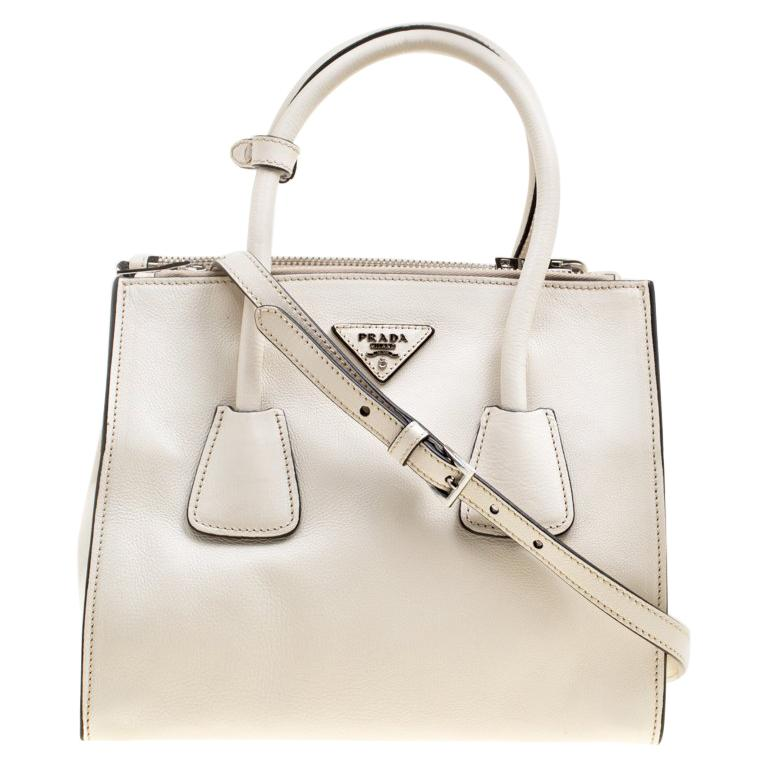 b8dbcefd70d2 Prada Off White Leather Double Zip Tote For Sale at 1stdibs
