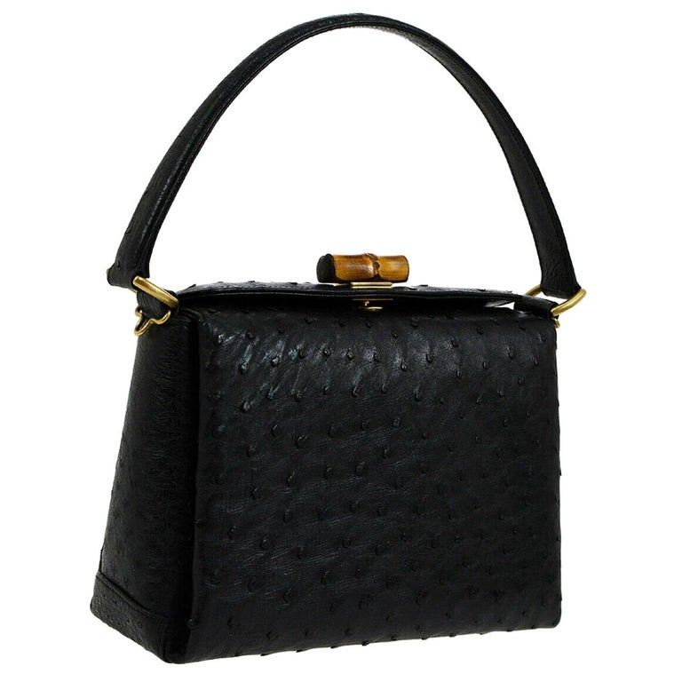 813b75826 Gucci Black Ostrich Bamboo Mini Kelly Style Top Handle Satchel Shoulder Bag  For Sale
