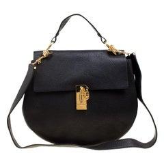 Chloe Black Leather Large Drew Shoulder Bag