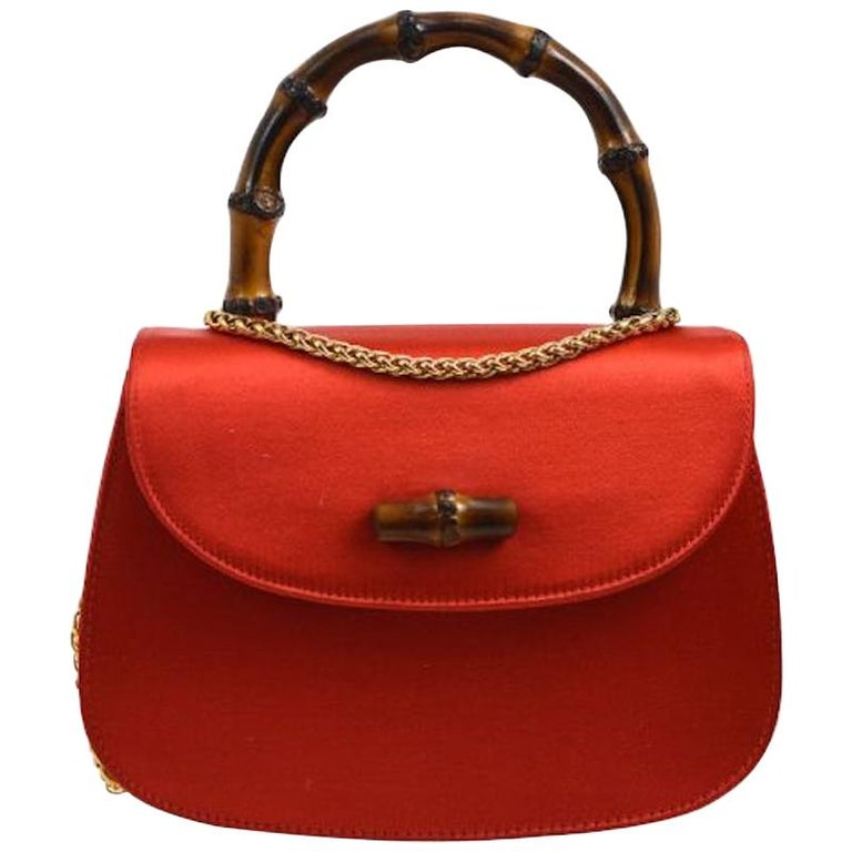 Gucci Red Satin Bamboo Gold Chain Kelly Mini Top Handle Satchel Evening Bag  For Sale
