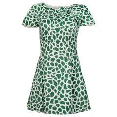 Oscar De La Renta Green/White Cotton Blend Shortsleeve Printed Dress Sz 2