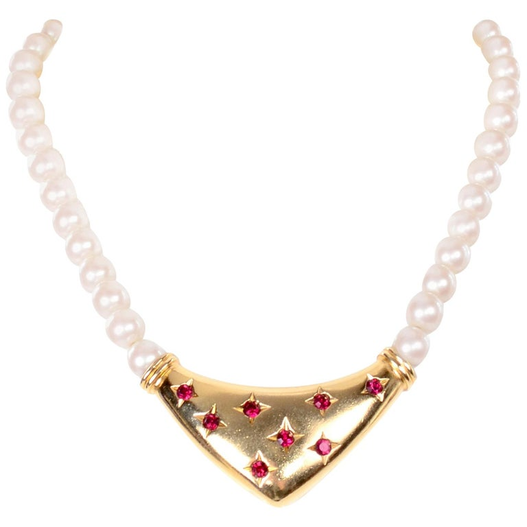 Yves Saint Laurent Signed YSL Vintage Pearls Gold Tone Bib Necklace w Red Stones For Sale