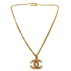 Chanel Gold Pearl Logo Charm Chain Evening Drape Drop Pendant Necklace